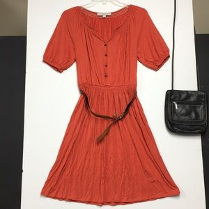 LOFT Peasant Dress w/Belt :: Orange :: Size 6P
